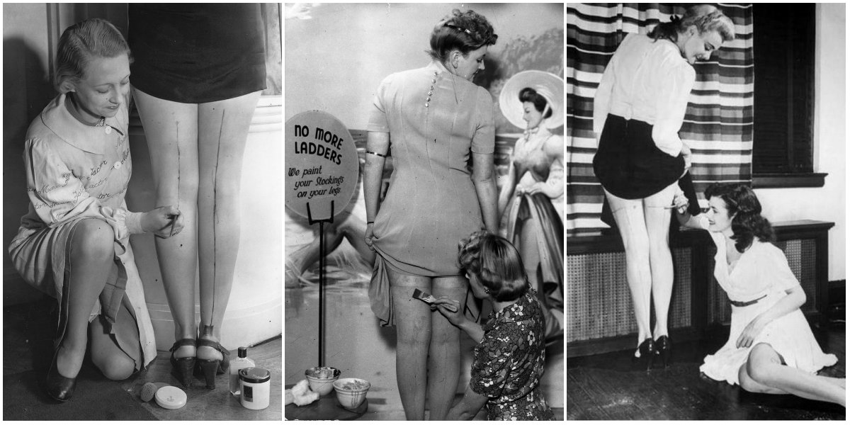 With Nylon Stockings Scarce, Women Painted Their Legs Using Gravy Juice  During the War Years ~ Vintage Everyday